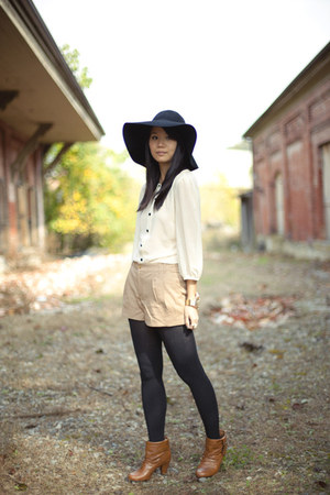 bronze Madden Girl boots - black floppy hat H&M Trend hat - tan H&M Trend shorts