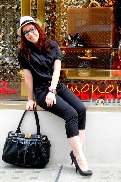 black shoes - beige hat - black shirt - black bag - black pants