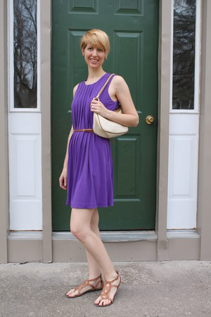 greek Steve Madden sandals - puple calvin klein dress - straw Nine West purse