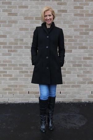 JCrew Factory coat - black knee high adrienne vittadini boots