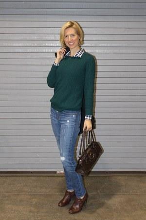 JCrew sweater - JCrew Factory jeans - thrifted bag - JCrew Factory blouse