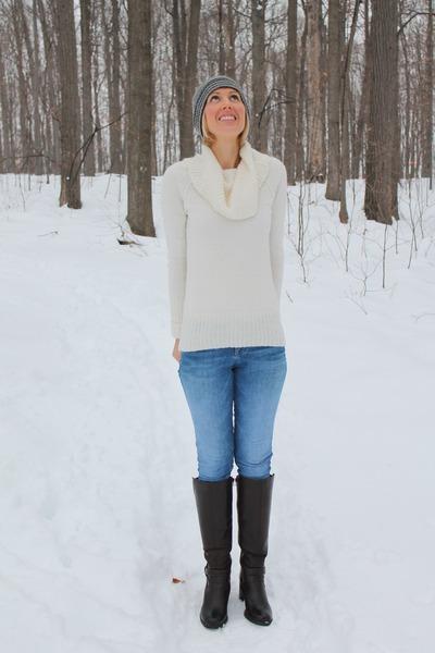JCrew sweater - skinny Guess jeans - gray striped JCrew hat