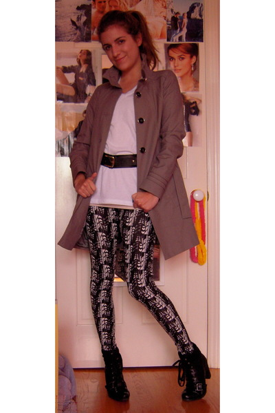 Urban Outfitters leggings - Zara coat - Urban Outfitters t-shirt - Forever21 bel