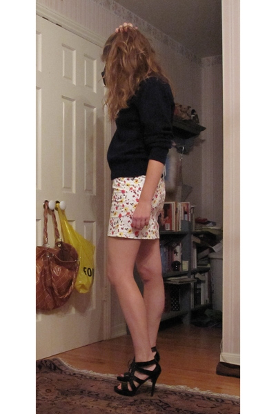 christian dior sweater - Zara skirt - stuart weitzman shoes