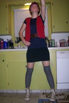 vest - Gap dress - Target Converse belt - Urban Outfitters socks - coach shoes -