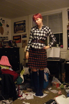 red skirt - blue Target socks - black Khols blouse - red Target belt