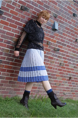 brown Bamboo boots - blue Old Navy socks - blue unknown skirt - black Forever 21