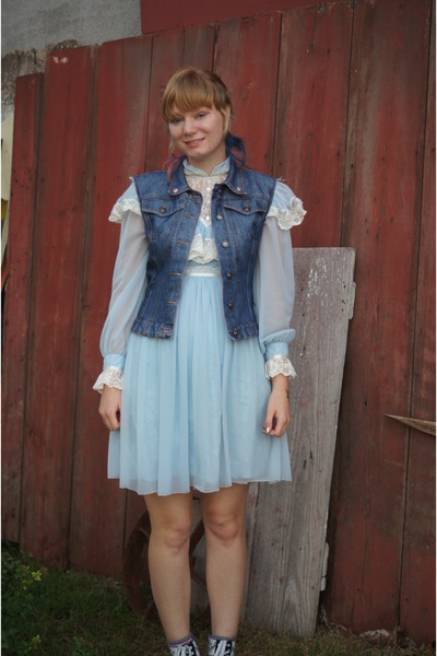 light blue diy dress - blue diy vest - purple Vans sneakers