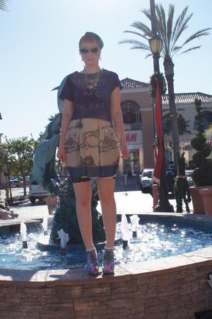 blue Anna Sui for Antrhropologie skirt - aquamarine sunglasses