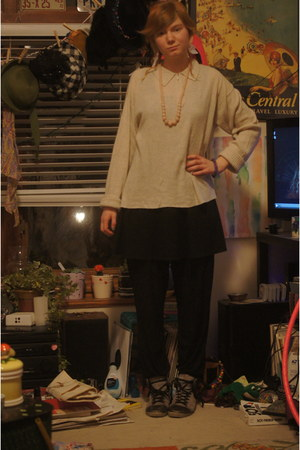 black Target dress - eggshell sweater - black pants - bubble gum necklace