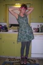 vintage dress - Sale Dillards tights - doc martens shoes - Forever 21 earrings