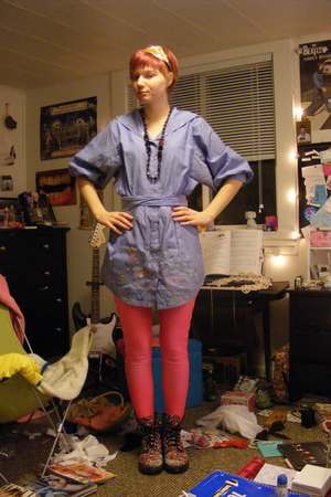 pink American Apparel leggings - red Docs shoes - blue Anthropologie dress - bla