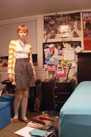 pink H&M dress - pink Sock Dreams socks - gray H&M skirt - brown Lucky Brand sho