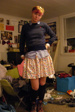 Gap shirt - Ralph Lauren sweater - skirt - Target socks - doc martens shoes