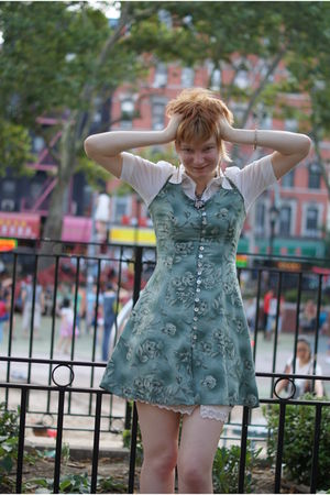 green dress - beige Anthropologie skirt - white H&M shirt - black Betsey Johnson
