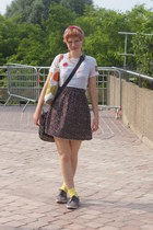 white DIY top - black Urban Outfitters dress - bubble gum hat - yellow H&M socks