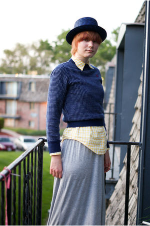 blue Ralph Lauren sweater - yellow Ralph Lauren shirt - gray BYourself dress - b