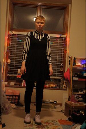 black Target dress - periwinkle doc martens shoes - black Target pants