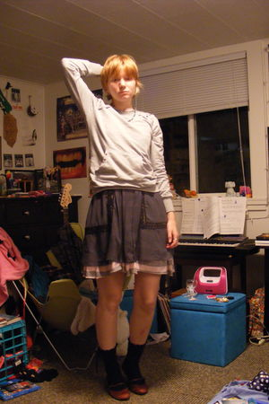 gray Wet Seal sweater - gray Urban Outfitters dress - pink handmade dress - blue