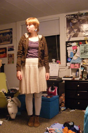 brown Zara shoes - white Candies leggings - beige Ann Taylor Loft skirt - purple