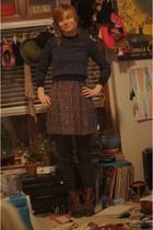 navy Bass boots - black coicidence and chance dress - navy Ralph Lauren sweater