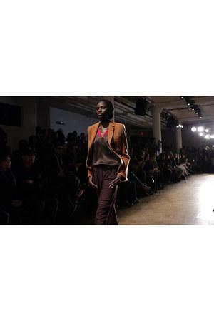 bronze blazer - brown satin blouse - dark brown pants