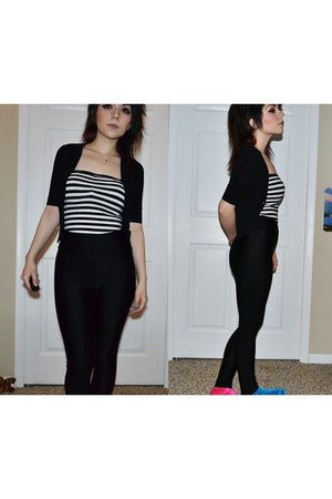 black disco pants Missguided leggings - white striped Forever 21 bodysuit