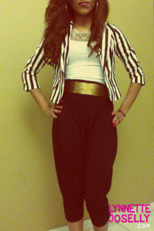 black striped Forever 21 blazer - gold metallic Forever 21 belt