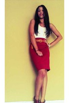 brick red high waist Forever 21 skirt