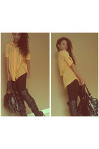 black Nasty Gal boots - yellow Madrag blouse