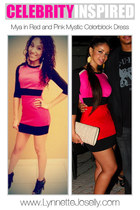 hot pink color blocking mystic dress - black booties Agaci boots