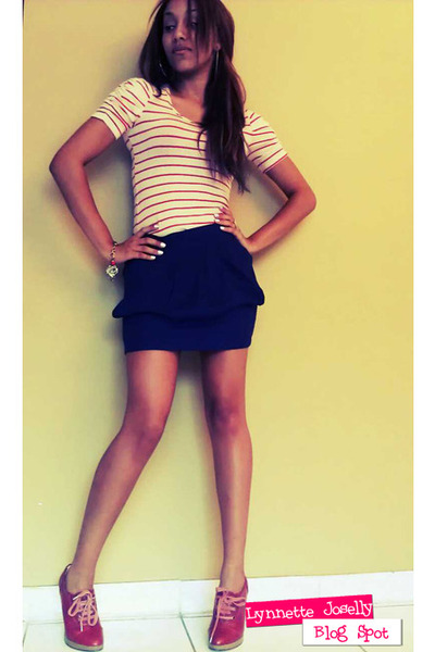 navy Papaya clothing skirt - brick red Forever 21 shoes