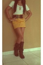 yellow Forever 21 skirt - dark brown Papaya clothing boots