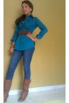 brown Papaya Clothig boots - brown Papaya clothing belt - teal Ross blouse