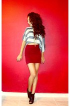 heather gray Madrag top - brick red Forever 21 skirt