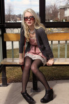 black wedges Aldo boots - pink lace slip dress Urban Outfitters dress