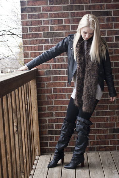 Secondhand jacket - Forever 21 top - DIY scarf - Pige Legging leggings - Secondh