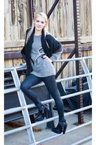 vintage sweater - Forever 21 leggings - Preston & York scarf - Same Edelman boot