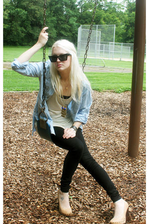 black Goldesign pants - beige Urban Outfitters top - beige Aldo shoes - blue Zar
