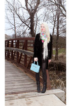 black vintage jacket - black Secondhand dress - black Forever 21 boots - blue ka
