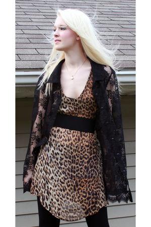 black vintage blouse - brown vintage dress - black Pige leggings - gold vintage