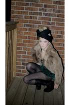 brown vintage coat - green vintage blouse - black Forever 21 tights - gray Urban