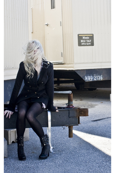 black military style BrownNYC blazer - black lace up bootie Forever 21 boots