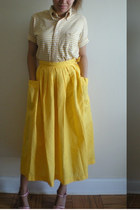yellow The Launderette skirt - white striped vintage shirt