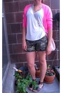 Olive-green-camo-ebay-shorts-hot-pink-neon-j-crew-cardigan-white-t-shirt