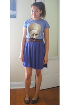 light purple thrifted t-shirt - purple thrifted vintage skirt