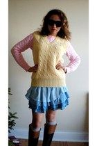 light pink thrifted Ralph Lauren sweater - brown corso como boots