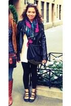 black faux leather jacket - cream dress - black leggings