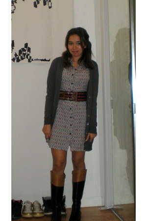 corso como boots - H & M dress - cardigan - Forever 21 belt