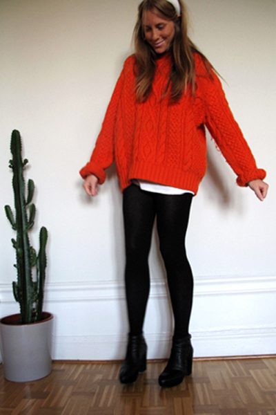 orange vintage sweater - black H&amp;M skirt - white vintage accessories - black acn